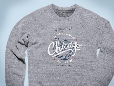 Chicago Cubs World Champs cotton bureau world series hand lettered hand drawn crewneck baseball chicago cubs cubs chicago