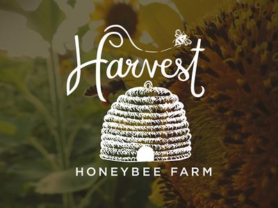 Harvest Honeybee Farm Logo bee house skep hand lettered hand drawn honeybee honey