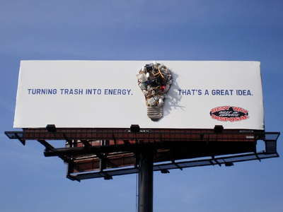 Best Way Disposal Outdoor Campaign reuse lightbulb trash 3d billboard outdoor advertising ooh