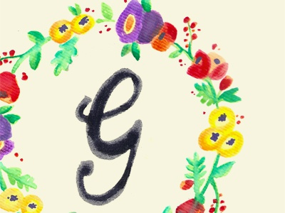 Watercolor G #2 illustration watercolor stationary hand lettering