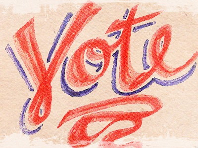 HAPPY ELECTION DAY! hand lettering vote red blue texture november