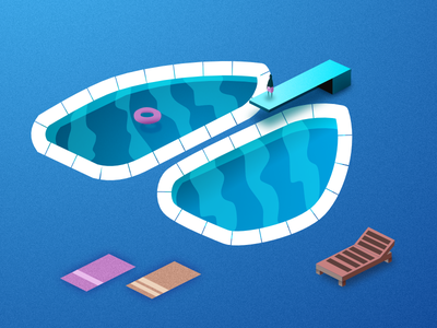 Swimming Lungs affinity summer lung lungs minimal vector isometric water pool
