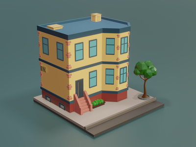 Low Poly Apartment art architecture building tree 3d render low poly art illustraion isometric b3d blender low poly