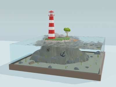 Lighthouse and etc. diorama island sea design building architecture b3d low poly isometric blender 3d illustraion art lighthouse