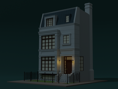 Low poly night building render design building architecture low poly isometric illustraion blender art 3d