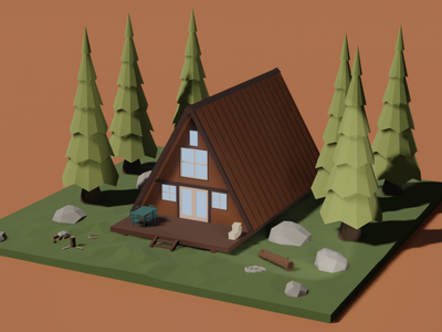 house in the woods illustration diorama architecture design low poly illustraion isometric blender art 3d