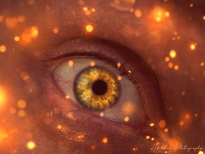 A Window to the Soul digital art photomanipulation iris light sparks magic fantasy composite colorful abstract art photoshop beautiful eye