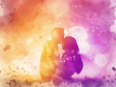 Te Quiero cuddles couple surreal abstract lovers affection hug love composite photoshop digital art painting watercolor fantasy colorful beautiful