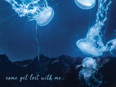 Lost wallpaper stars magical jellyfish sky night photomanipulation magic colorful abstract surreal fantasy composite photoshop art design beautiful
