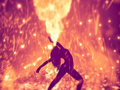 Firestarter wallpaper dancer flames sparks fire photomanipulation magic colorful abstract surreal fantasy composite photoshop art beautiful design