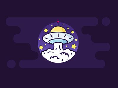 UFO cute flat illustrator vector ui logo illustration digital art colorful art composite design beautiful ufo alien