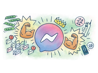 Messenger is king digital paint illustration king pow text text message bicep flex buff email cellphone crown arms instagram facebook