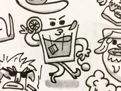 Mr.Booze whiskey ink sketch doodle old fashioned whisky drink booze