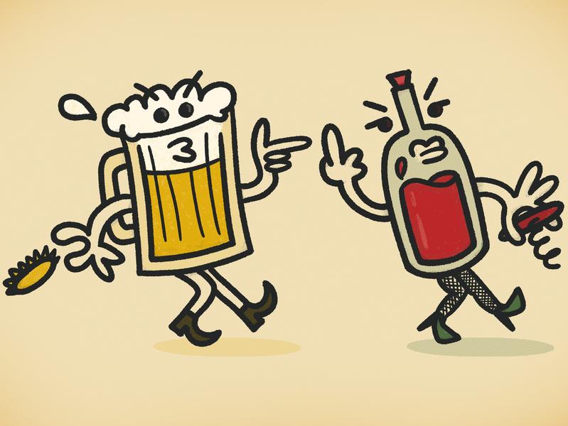 Best Friends harrasment cat call illustration booze halftone retro wine beer