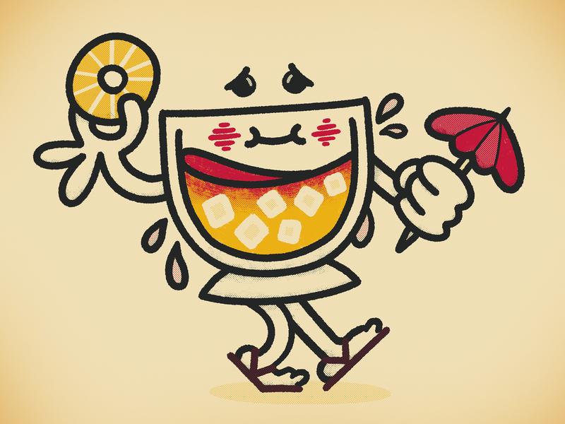 Maui alcohol flippy floppies sweat umbrella pineapple tropical booze vintage retro illustration