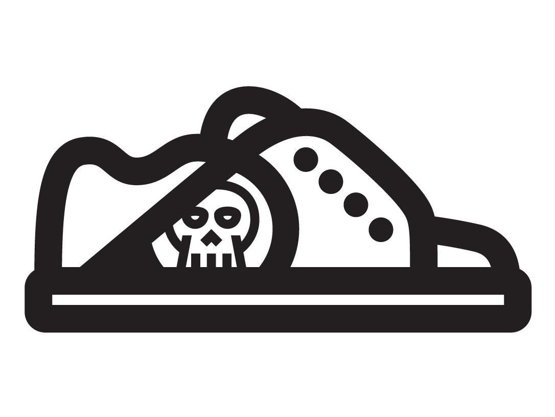Skate Shoe icon blackandwhite white black skate shoe shoe skull skate or die skate board
