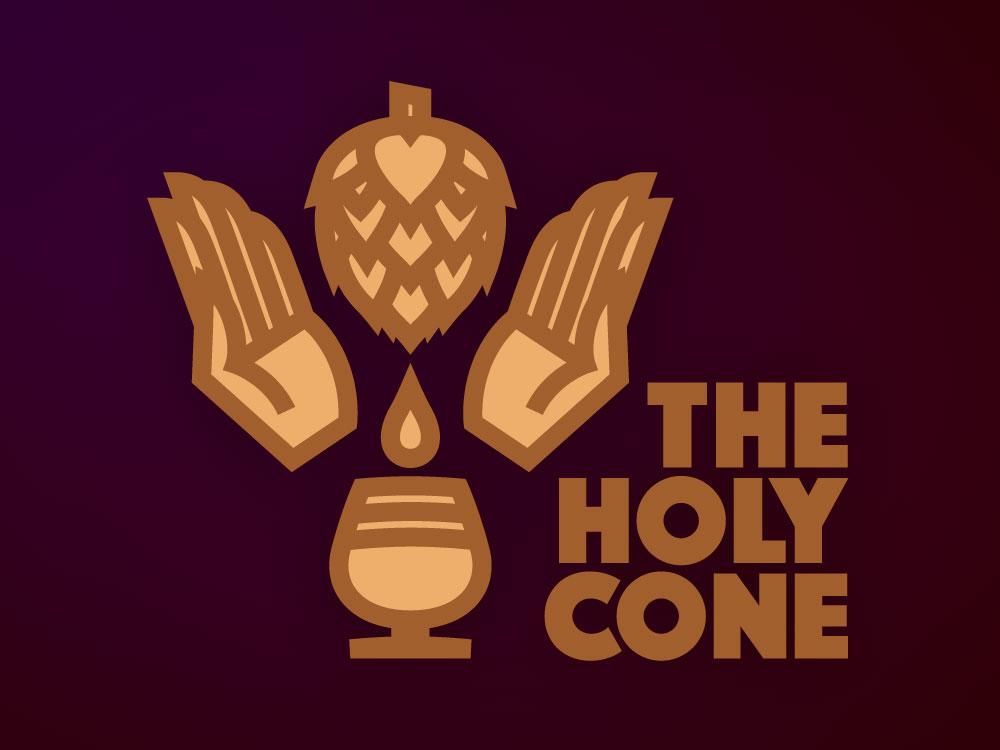 The Holy Cone practice beer branding hands sacrilege hops beer logo lines