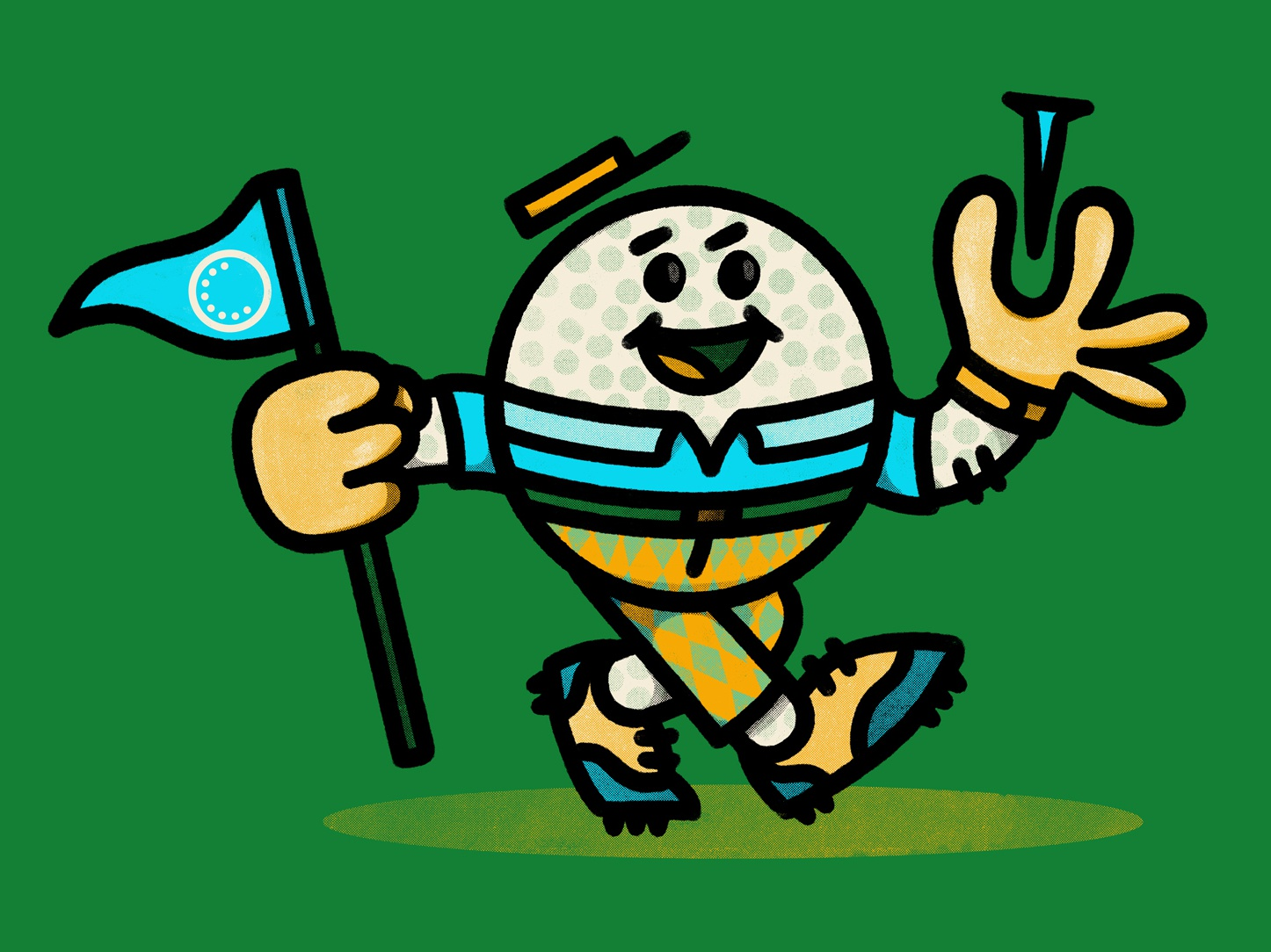 Ball Guy illustration tee flag ball golf