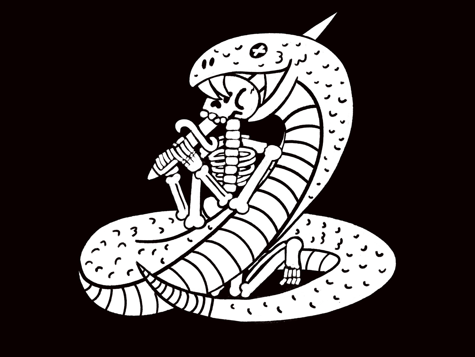 Snake V3 draw black white sword skeleton snake illustration skull