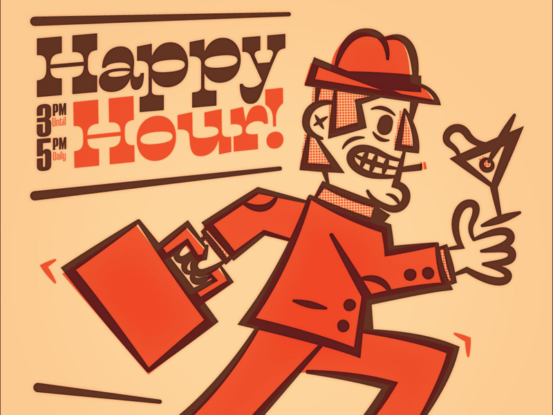 Happy Hour business suit olive vodka alcohol vector illustration sprinting running happy hour martini vintage retro