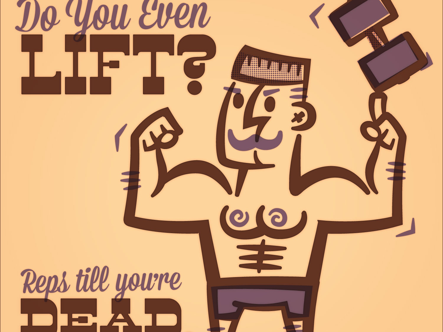 Do you even lift? halftones purple strongman strong weightlifting weights moustache vector vintage retro illustration