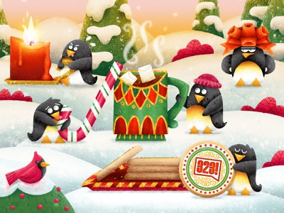 2019 Holiday Card candycane photoshop digital painting illustration texture trees snow candle cookies hot chocolate penguin christmas
