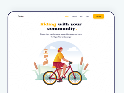 Landing page design for Cycle Community ride sharing uidesign trending riders community website landing page webdesign best design 2020 header cycle colorful design button bikes bikers ride bike bicycle best design 2020 design