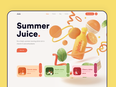 Juice/Juicy Website design project product design dribbble cart shop card websites yellow landingpage summer orange juicy juice bar juice best design website design webdesigner uidesigner ui8 uidesign trending