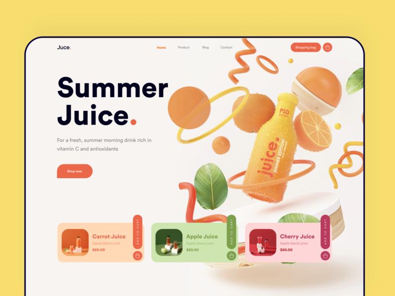 Juice/Juicy Website design project product design dribbble cart shop card websites yellow landingpage summer orange juicy juice bar juice best design website design webdesigner uidesigner ui8 uidesign trending