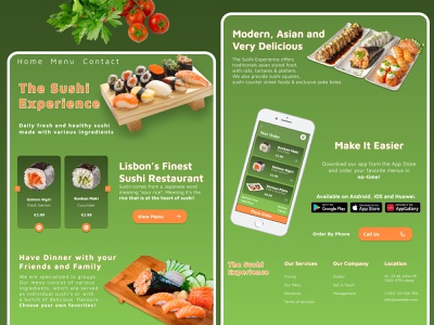 Sushi Landing Page UX/UI Design html digital freelancer figma minimaldesign wordpressdesign wordpressdeveloper wordpress webdeveloper webdesign webdesigner landingpage uitrends awwwards dribbble uiuxdesign uxdesignui uidesign uxdesign userinterface