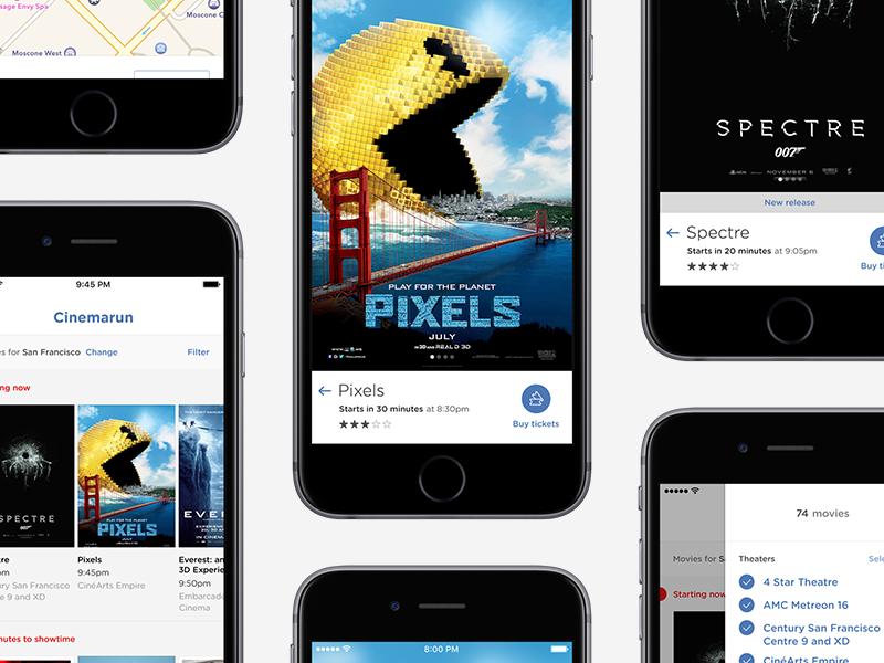 Cinemarun entertainment interface ios iphone apple movie cinema