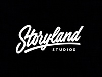 Storyland studios logo lettering custom writing hand-made hand-writing calligraphy script brush-script