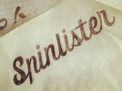 Spinlister logo app identity lettering custom typography letters hand drawn