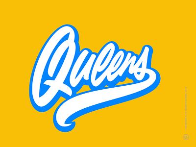 Queens custom script vector scripture bold smooth script lettering logo lettering usa queens