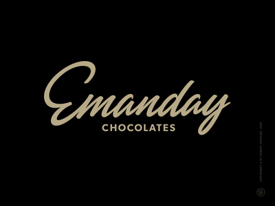 Emanday script calligraphy lettering logotype logo chocolate candy emanday