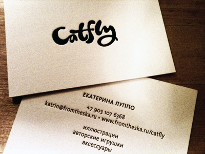 Catfly letterpress print business card logo catfly typography custom lettering hand-writing
