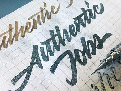Authentic Jobs logo logotype lettering calligraphy typography custom authenticjobs лого логотип каллиграфия леттеринг типографика