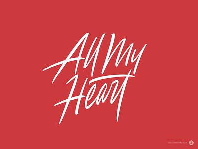 All My Heart tattoo logo tattoo lettering tattoo heart design script logotype typography custom calligraphy logo lettering