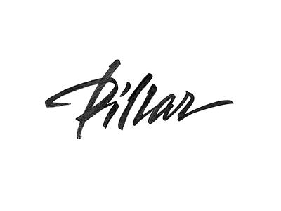 Pillar  logo logotype calligraphy lettering pillar brushpen-script brush-script