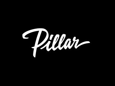 Pillar script custom calligraphy lettering branding identity logotype logo pillar