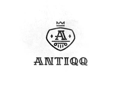Antiqq logo mark identity cap hat store antique time crown column shield heraldic crest