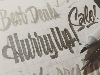 Hurry Up! commercial sales casual script casual brushscript brush script script lettering