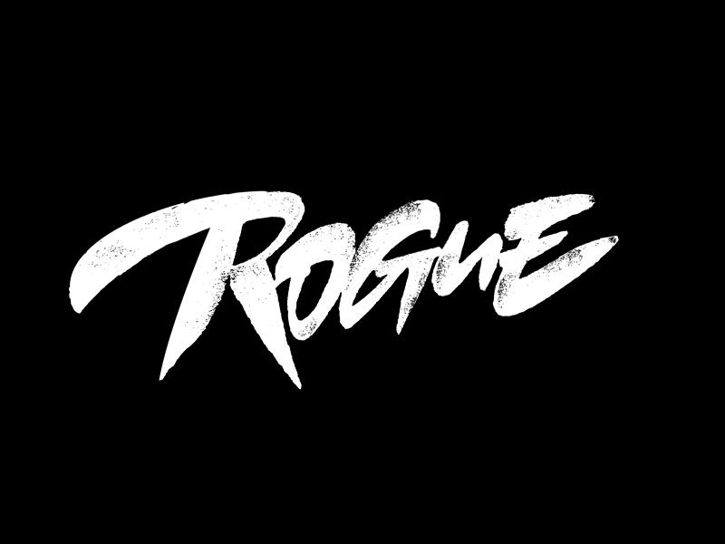 Rogue progress texture rogue expressive bold script process lettering logotype logo