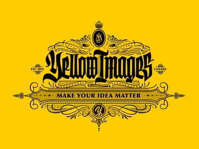 Yellow Images illustration ornament blackletter gothic print victorian lettering