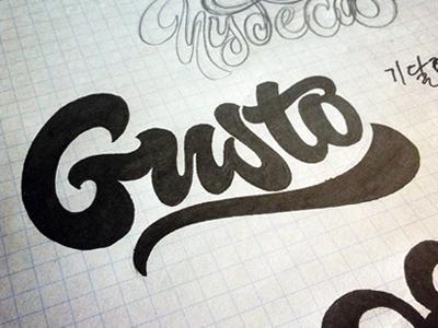 Gusto logo lettering hand-written hand-drawn custom swoosh loop