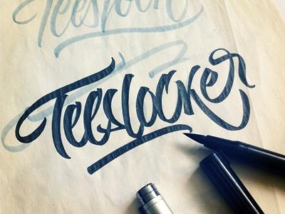 Teeslocker t-shirt lettering custom brushpen multiliner black flow calligraphic