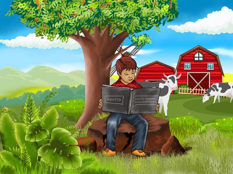 read a book on the farm