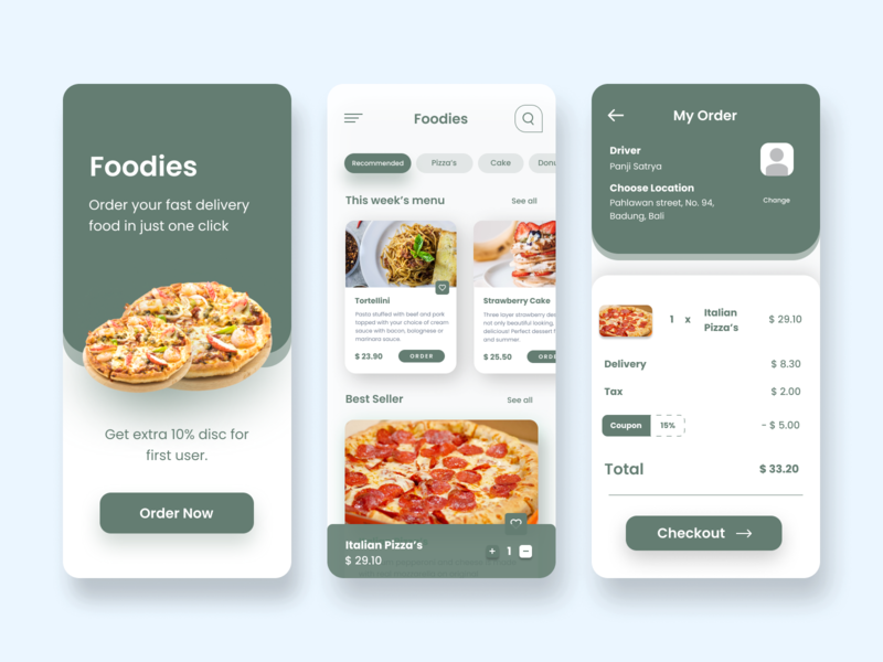 Food App - Mobile UI food app mobile ui design mobile app mobile app ui mobile app design app ios app ui design clean animation modern mobile ui mobile design minimal design 2020 trend