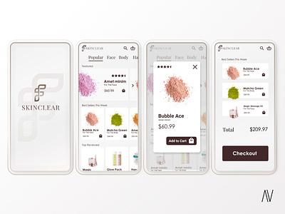 SkinClear - Ecommerce skincare UI design app design dailyui infocards skincare ios brand design user interface product design ui design