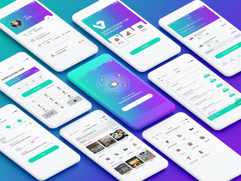 Service Provider App card layout profile page profile screen cart ui cart listing listing page verification screen home page design home page thankyou screen ui elements service provider design ux interactiondesign service app uidesign ui